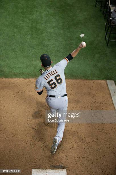 San Francisco Giants Pitcher Zack Littell warms up in the bull pen before the Texas Rangers game versus the San Francisco Giants on Jun 9th at Globe...