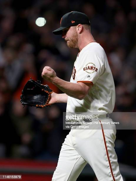 San Francisco Giants relief pitcher Will Smith reacts after striking out Los Angeles Dodgers left fielder Joc Pederson to end their MLB game at...