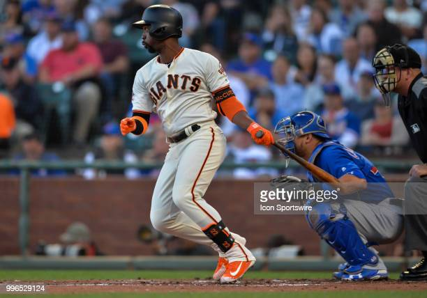 San Francisco Giants Right field Andrew McCutchen hits a pop fly during the MLB game between the Chicago Cubs and the San Francisco Giants on July 9...
