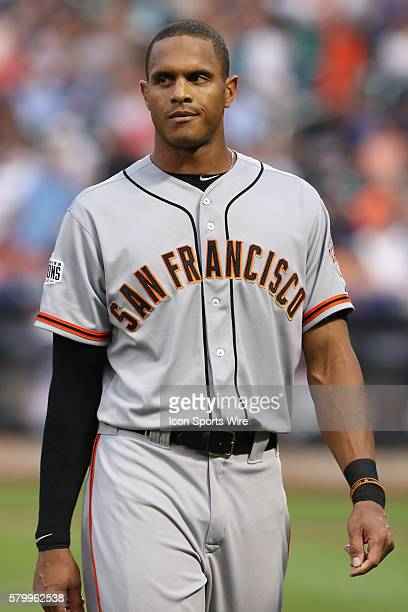 San Francisco Giants right fielder Justin Maxwell during the game between the New York Mets and the San Francisco Giants played at Citi Field in...