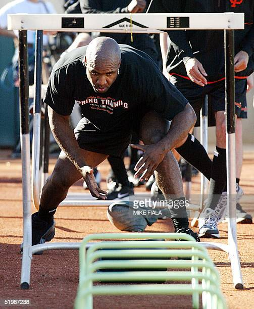 San Francisco Giants' slugger Barry Bonds ducks under a hurdle during an agility exercise at spring training 21 February 2002 in Scottsdale, Arizona.