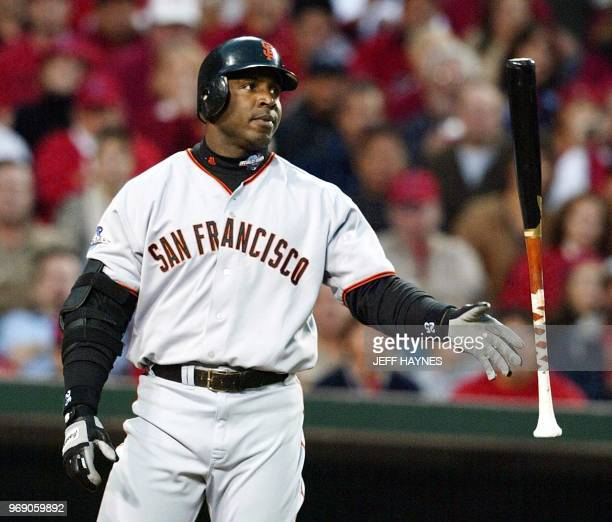 San Francisco Giants slugger Barry Bonds reacts to being walked in the fourth inning by the Anaheim Angels during Game 6 of the World Series in...