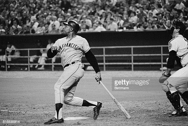 San Francisco Giants slugger Willie Mays watches the ball he just hit go over the left field fence at the Astrodome in Houston. The homer was May's...