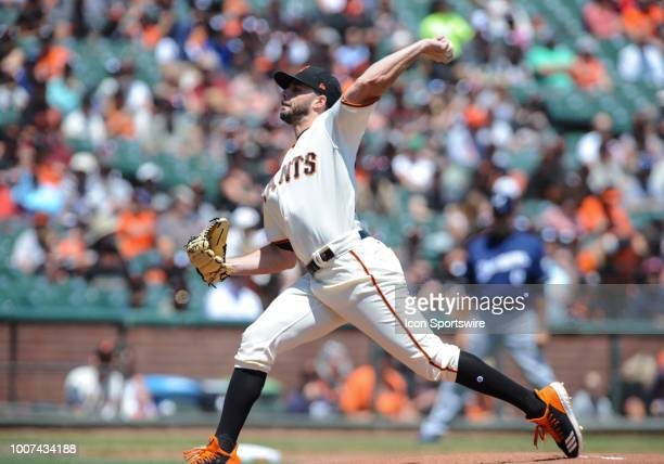 San Francisco Giants starting pitcher Andrew Suarez pitches in the first inning during the regular season game between the San Francisco Giants and...