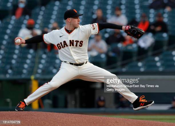 San Francisco Giants starting pitcher Anthony DeSclafani throws against the Colorado Rockies in the first inning of their MLB game at Oracle Park in...