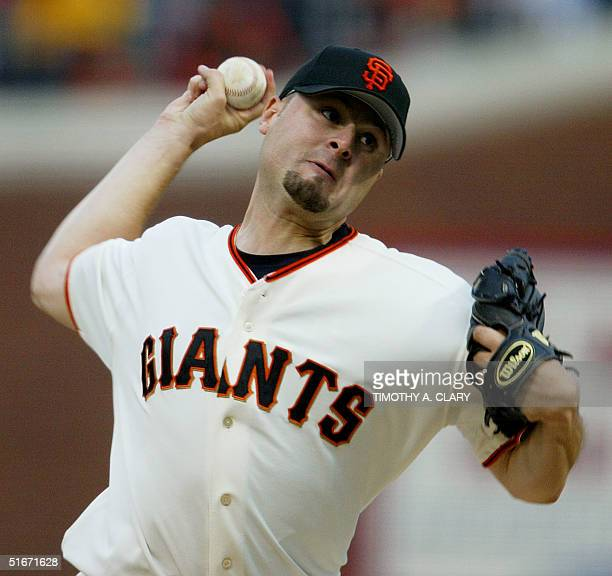 San Francisco Giants' starting pitcher Jason Schmidt throws the ball to the Anaheim Angels in the first inning of Game Five in the World Series...