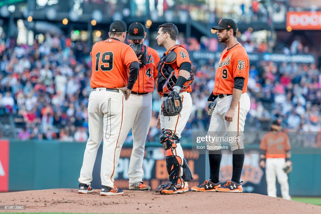 San Francisco Giants Starting pitcher Matt Moore (45) has a consultation on the mound during the Major League Baseball game between the Miami Marlins and the San Francisco Giants on July 7, 2017, at AT&T Park in San Francisco, CA.