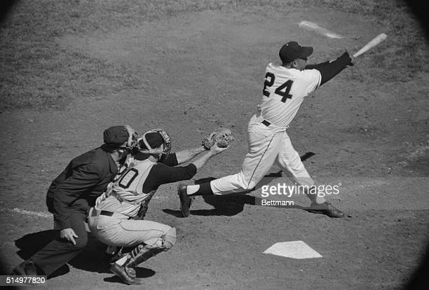 San Francisco Giant's Willie Mays hits his second homer of the day in the 5th inning of the game against the Pittsburgh Pirates here Mays has been...