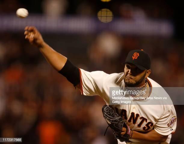 San Francisco Giants' Yusmeiro Petit throws against the Arizona Diamondbacks in the tenth inning at ATT Park in San Francisco Calif on Thursday April...