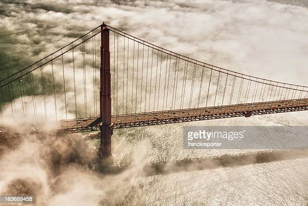 san francisco golden gate bridge from aircraft - suspension bridge stock photos and pictures