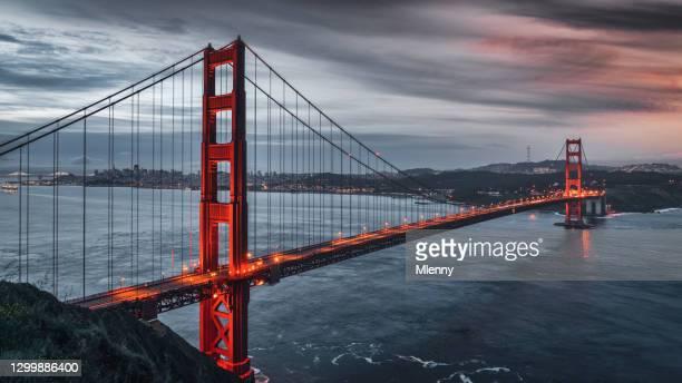 san francisco golden gate bridge sunrise panorama california usa - mlenny stock pictures, royalty-free photos & images