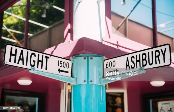 usa, san francisco haight and ashbury streets intersection - haight ashbury stock photos and pictures