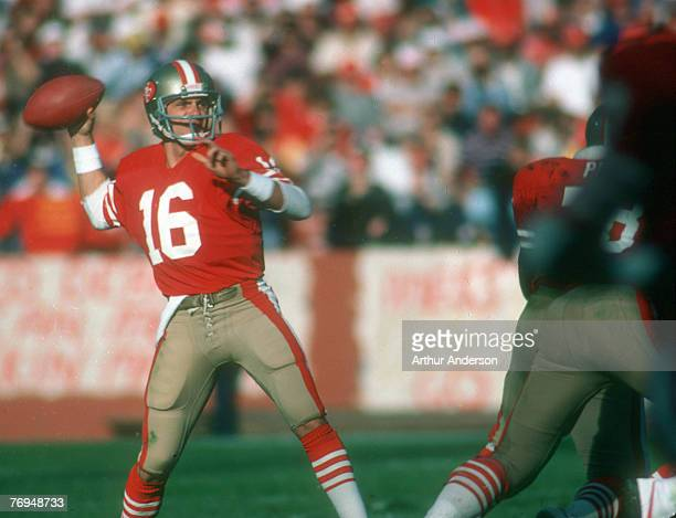 San Francisco Hall of Fame quarterback Joe Montana throws downfield in the 49ers 247 win over the Tampa Bay Bucanners at Candlestick Park in San...