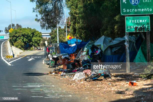 san francisco homeless camp - homeless stock photos and pictures