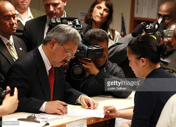 San Francisco interim Mayor Ed Lee files paperwork to officially run for mayor on August 8 2011 in San Francisco California Lee formally announced...