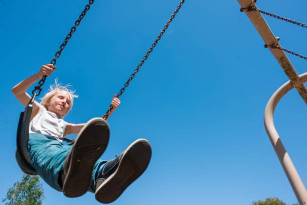 USA, CA, San Francisco, Low angle view of boy on swing