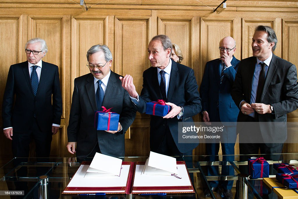 San Francisco Mayor Ed Lee On Official Visit In Paris at the City Hall with Bertrand Delanoe on March 20, 2013 in Paris, France.