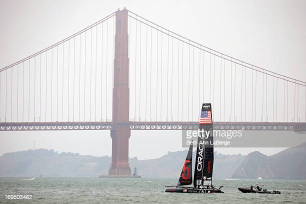 San Francisco Mayor Ed Lee sails across the Bay on an Oracle Racing's AC45 wingsail catamaran on Aug. 15 to raise interest in the races before the...