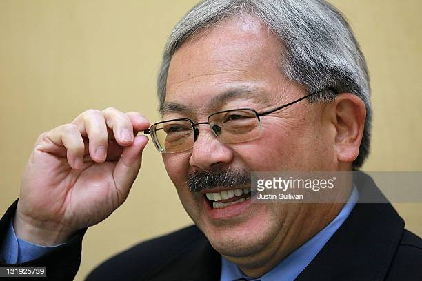 San Francisco mayor Ed Lee smiles as he campaigns in Chinatown on November 8 2011 in San Francisco California Candidates for San Francisco mayor are...