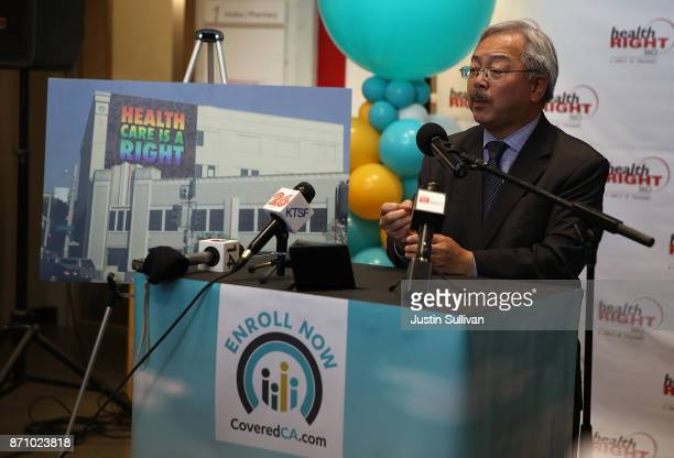 San Francisco mayor Ed Lee speaks during a news conference at HealthRIGHT 360 on November 6 2017 in San Francisco California A statewide bus tour is...