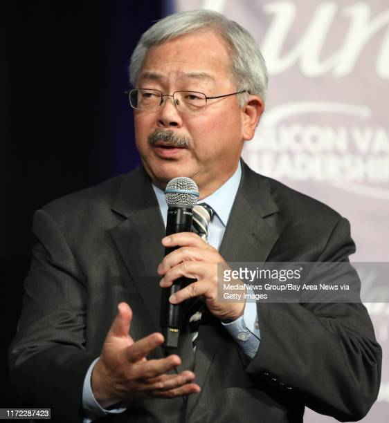 San Francisco Mayor Ed Lee speaks during a panel discussion at the Silicon Valley Leadership Group annual luncheon at the Santa Clara Convention...