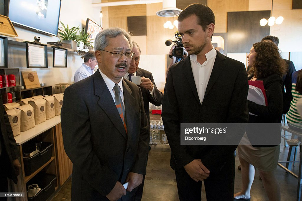 San Francisco Mayor Edward 'Ed' Lee, left, speaks as Jack Dorsey, chairman and co-founder of Twitter Inc., after a press conference in San Francisco, California, U.S., on Friday, June 14, 2013. Dorsey, Mayor Michael Bloomberg and Mayor Lee announced today that they will co-host the second annual Bloomberg Technology Summit to be held in New York on September 30. Photographer: David Paul Morris/Bloomberg via Getty Images
