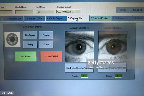San Francisco Mayor Gavin Newsom has his irises scanned using Clear a new security program at the San Francisco International Airport on August 15...