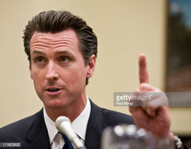 San Francisco Mayor Gavin Newsom testifies at a full committee hearing on Building Green Saving Green before the House Energy Independence and Global...