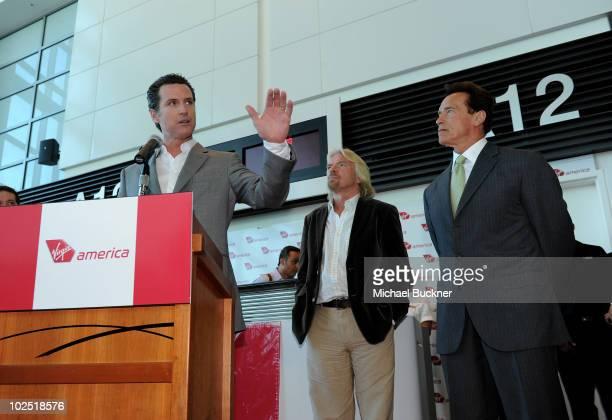 San Francisco Mayor Gavin Newson Sir Richard Branson and California Governor Arnold Schwarzenegger speak at the ribbon cutting for Virgin America's...