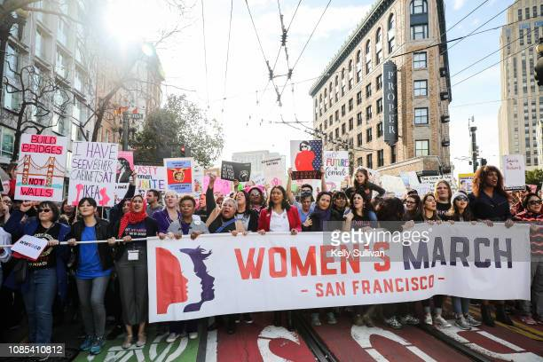 San Francisco Mayor London Breed and Congresswoman Barbara Lee lead the Women's March San Francisco on January 19 2019 in San Francisco California