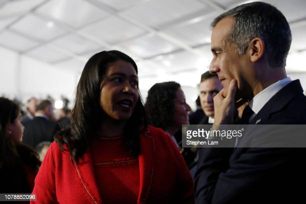 San Francisco Mayor London Breed and Los Angeles Mayor Eric Garcetti are seen during the inauguration of Gavin Newsom as governor of California on...