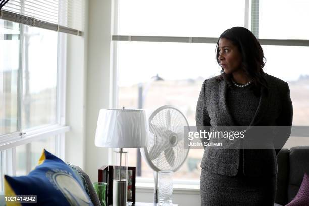 San Francisco mayor London Breed look on while visiting the Alice Griffith Apartments on August 22 2018 in San Francisco California Lt Gov Gavin...