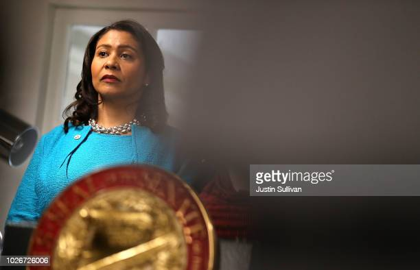 San Francisco mayor London Breed looks on during a news conference to show support for safe injection sites within city limits at HealthRIGHT 360 on...