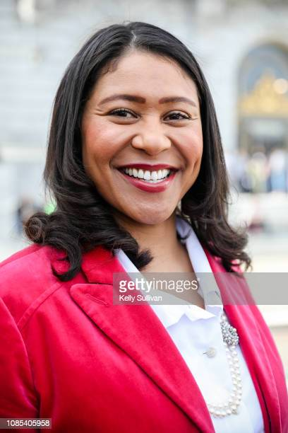 San Francisco mayor London Breed poses for a photo during the San Francisco Women's March at Civic Center Plaza on January 19 2019 in San Francisco...
