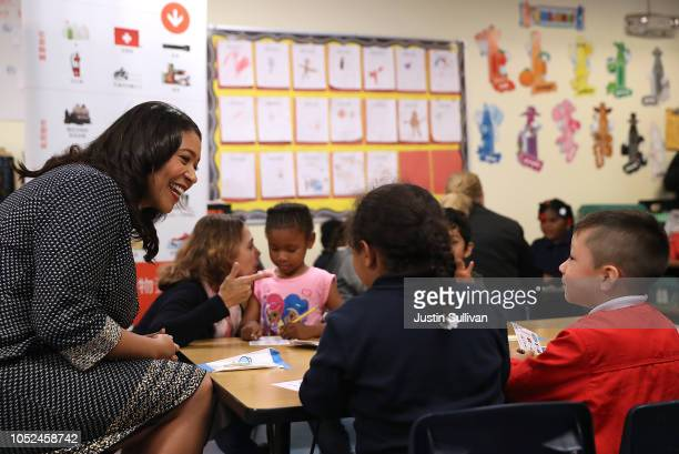 San Francisco Mayor London Breed reviews supplies that are needed after an earthquake occurs with students at Bryant Elementary School during a Great...