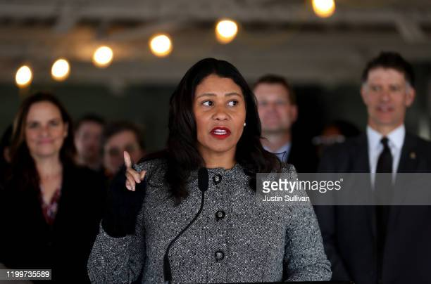 San Francisco Mayor London Breed speaks during a news conference at the future site of a Transitional Age Youth Navigation Center on January 15 2020...