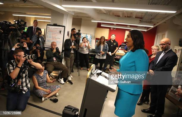 San Francisco mayor London Breed speaks during a news conference to show support for safe injection sites within city limits at HealthRIGHT 360 on...