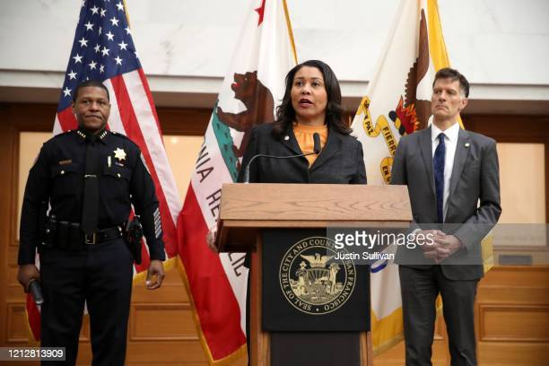 San Francisco Mayor London Breed speaks during a press conference as San Francisco police chief William Scott and San Francisco Department of Public...