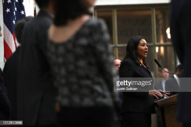 San Francisco Mayor London Breed speaks during a press conference at San Francisco City Hall on March 16 2020 in San Francisco California San...