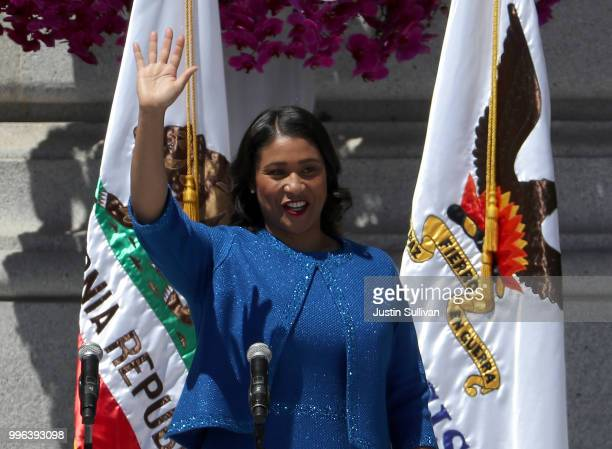 San Francisco mayor London Breed speaks during her inauguration at San Francisco City Hall on July 11 2018 in San Francisco California London Breed...