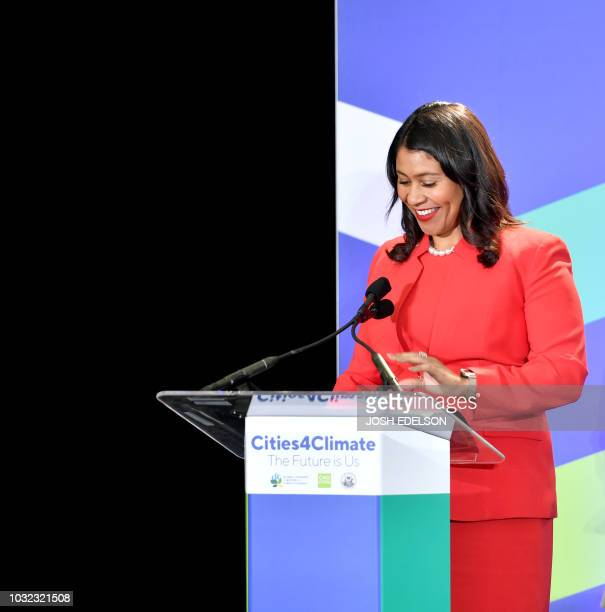 San Francisco Mayor London Breed speaks during the C40 Cities For Climate The Future Is Us kickoff event at San Francisco's City Hall on September 12...