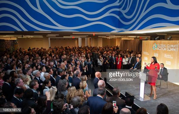 San Francisco Mayor London Breed speaks during the opening reception for the Global Climate Action Summit in San Francisco California on September 12...