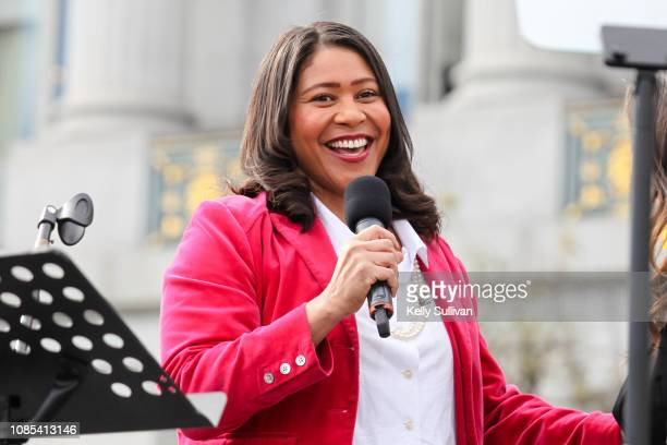 San Francisco Mayor London Breed speaks onstage at Civic Center Plaza during the Women's March San Francisco on January 19 2019 in San Francisco...