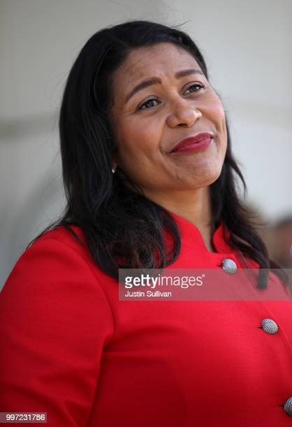 San Francisco mayor London Breed speaks to reporters after meeting with first responders during an emergency preparedness meeting on July 12 2018 in...