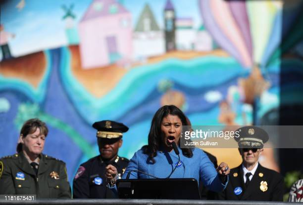 San Francisco mayor London Breed speaks to Rosa Parks Elementary School students during the Great California Shakeout Earthquake Drill on October 17...