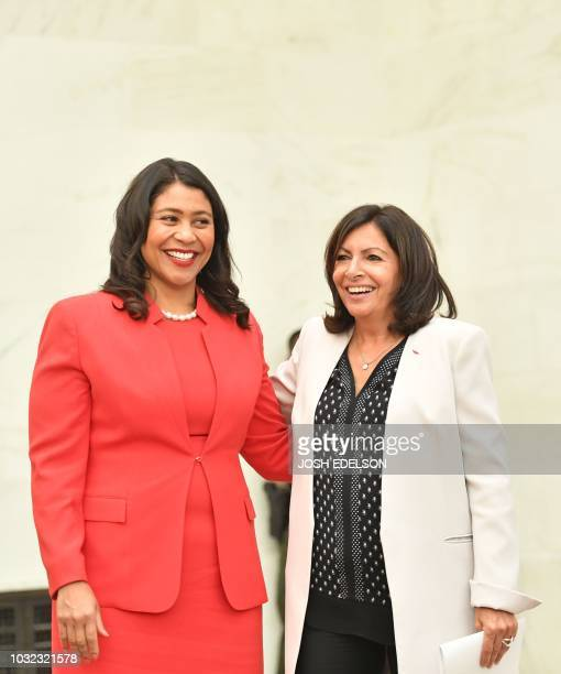 San Francisco Mayor London Breed stands for a photo alongside Paris Mayor Anne Hidalgo during the C40 Cities For Climate The Future Is Us kickoff...