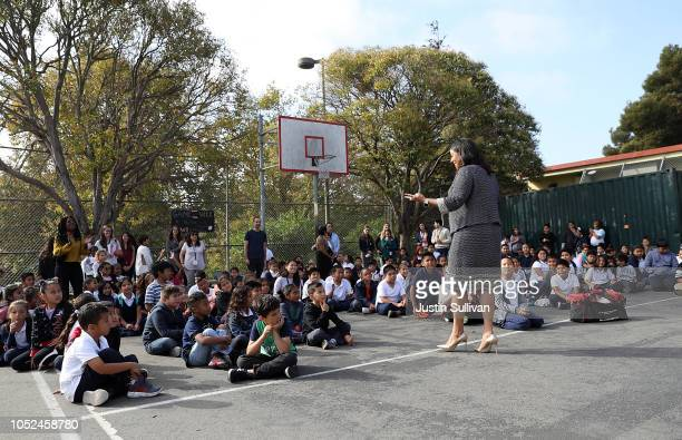 San Francisco Mayor London Breed talks with Bryant Elementary School students during a Great ShakeOut event on October 18 2018 in San Francisco...