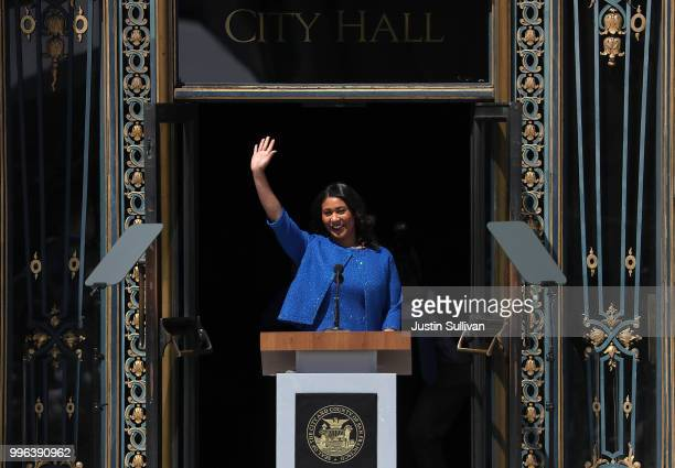 San Francisco mayor London Breed waves during her inauguration at San Francisco City Hall on July 11 2018 in San Francisco California London Breed...