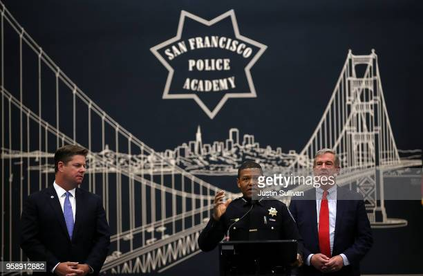 San Francisco mayor Mark Farrell and San Francisco supervisor Jeff Sheehy look on as San Francisco police chief Bill Scott speaks during a news...