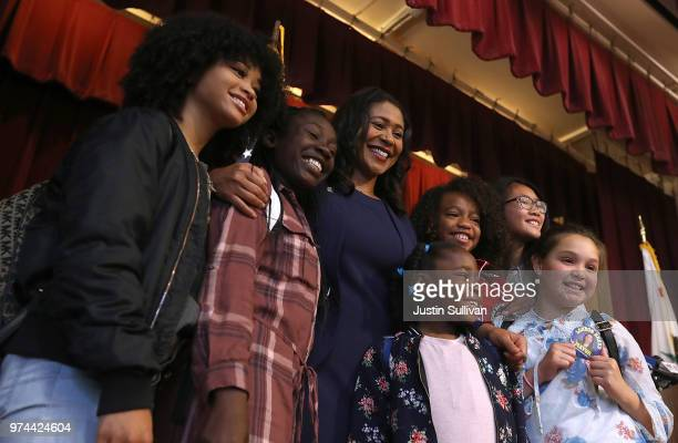 San Francisco Mayorelect London Breed greets students after a news conference at Rosa Parks Elementary School on June 14 2018 in San Francisco...